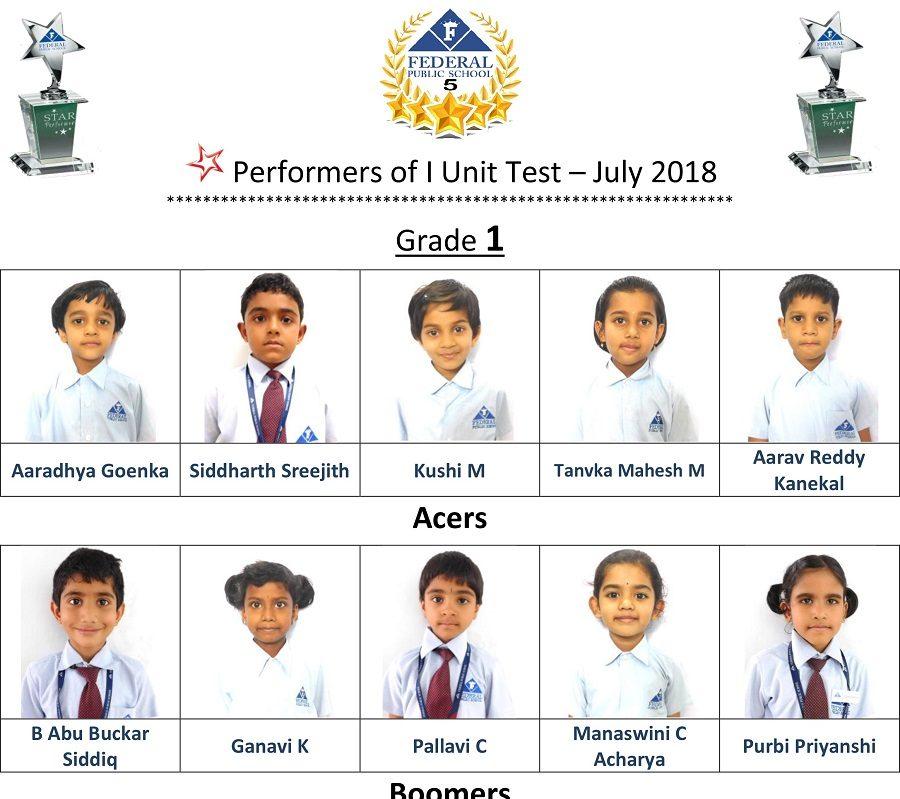 Grade 1 I Unit Test 2018-19