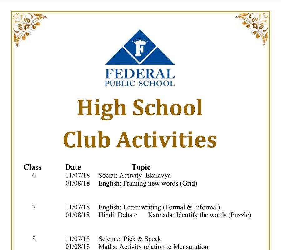 High School Club Activities 11.7.18